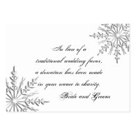 Snowflake Wedding Charity Favor Card Business Card