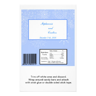 Snowflake Wedding Hershey's Large Bar Wrapper Personalized Flyer