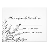 Snowflake Wedding RSVP Response Card Invitations