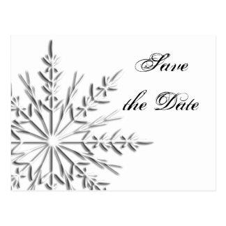 Snowflake Wedding Save the Date Postcard