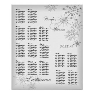 Snowflake Wedding Seating Chart Silver Grey Poster