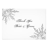 Snowflake Wedding Thank You Notes - Flat Personalized Invitation