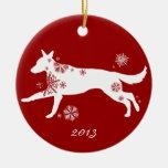 Snowflake White German Shepherd Dog Double-Sided Ceramic Round Christmas Ornament