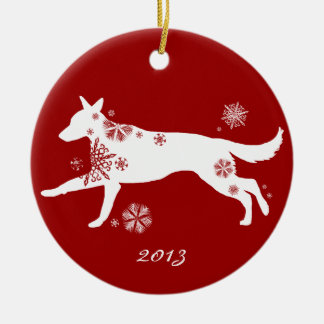 Snowflake White German Shepherd Dog Double-Sided Ceramic Round Christmas Ornament