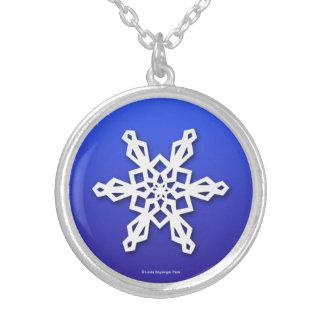 Snowflake White on Blue Custom Necklace
