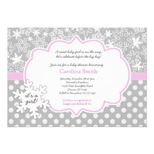snowflake winter baby shower girl invitations 5 x 7 invitation ca