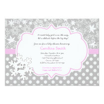 "Snowflake Winter Baby Shower Girl Invitations 5"" X 7"" Invitation Card"