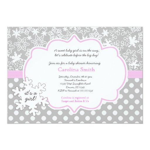 Snowflake Winter Baby Shower Girl Invitations