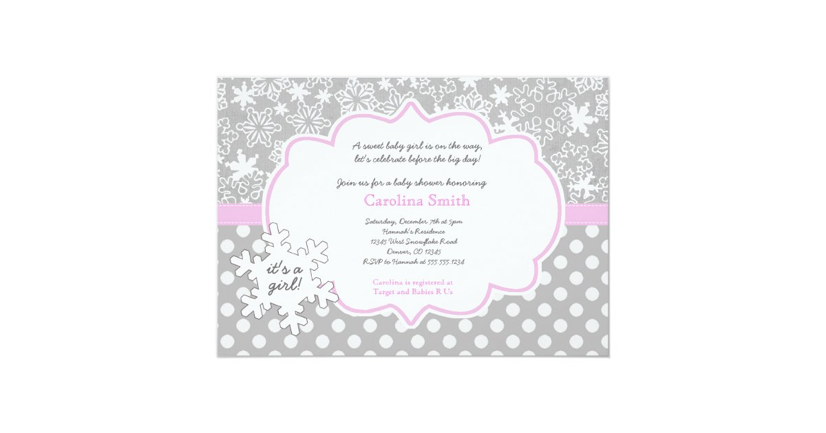 snowflake winter baby shower girl invitations zazzle