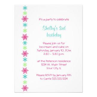 Snowflake Winter Birthday Invitation