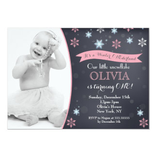 Snowflake Winter Birthday Invitations