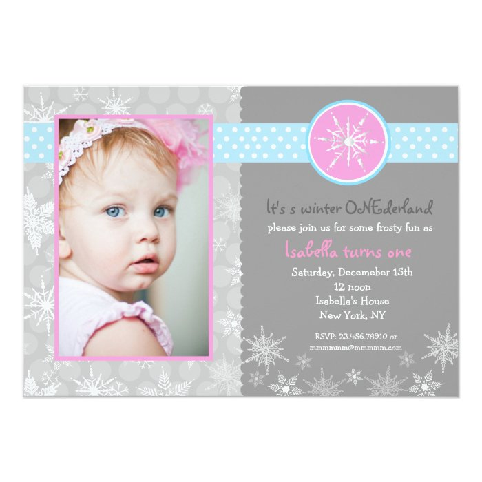 Snowflake Winter Birthday Party Invitations Photo