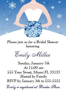 snowflake winter bridal shower invitation