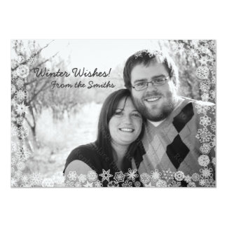 Snowflake Winter Holiday Card with Snow Frame