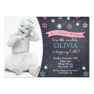 Snowflake Winter Onederland  Birthday Invitations