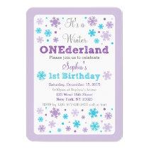 Snowflake Winter ONEderland Birthday Invitations
