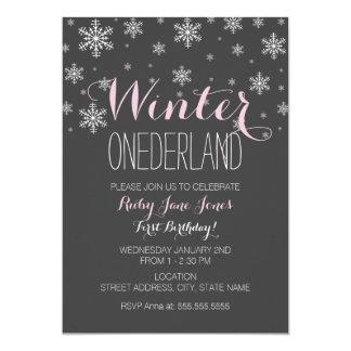 Snowflake Winter Onederland First Birthday Pink Card