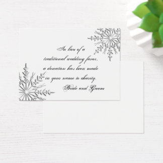 Snowflake Winter Wedding Charity Favor Card