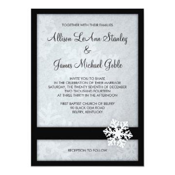 Snowflake Winter Wedding Invitation - Black, White at Zazzle