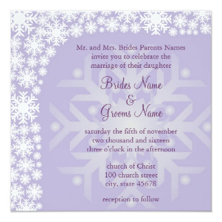 Snowflake Winter Wedding Invitation - Ice Purple