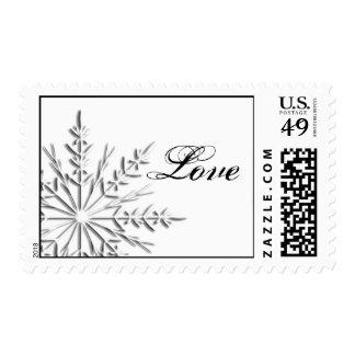 Snowflake Winter Wedding Love Postage