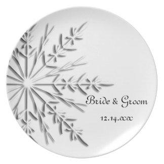 Snowflake Winter Wedding Plate
