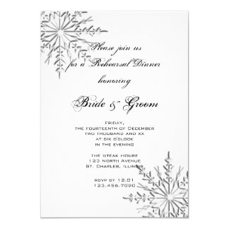 Snowflake Winter Wedding Rehearsal Dinner Card