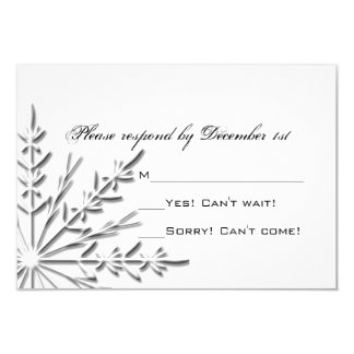 Snowflake Winter Wedding RSVP Response Card