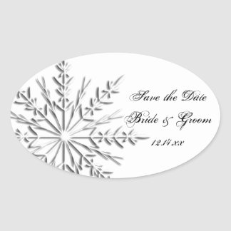 Snowflake Winter Wedding Save the Date Oval Sticker