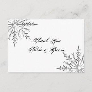 Snowflake Winter Wedding Thank You Notes - Flat