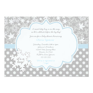 Beautiful Snowflake Winter Wonderland Baby Shower Invitation