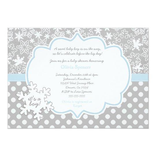 snowflake winter wonderland baby shower invitation zazzle