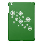 Snowflake with Green Background iPad Mini Cases