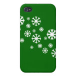 Snowflake with Green Background iPhone 4/4S Case