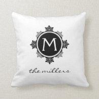 Snowflake Wreath Family Monogram in Black White Pillow