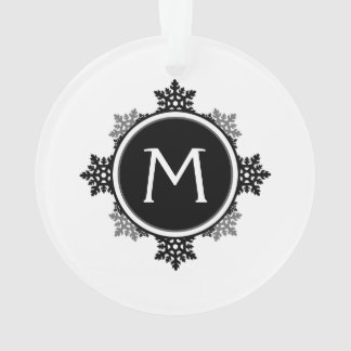 Snowflake Wreath Monogram in Black and White