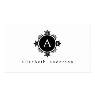 Snowflake Wreath Monogram in Black and White Business Card