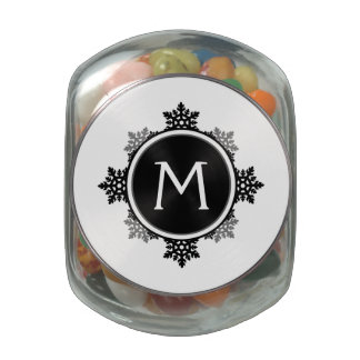 Snowflake Wreath Monogram in Black and White Glass Jar