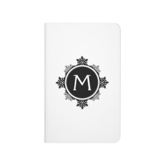 Snowflake Wreath Monogram in Black and White Journal