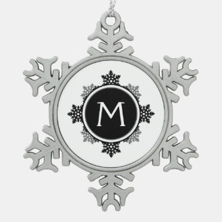 Snowflake Wreath Monogram in Black and White Ornament