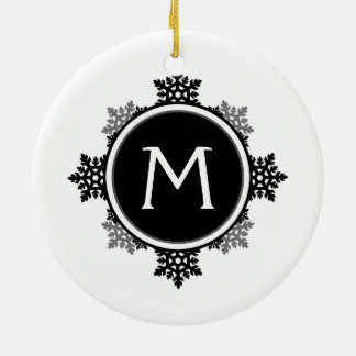 Snowflake Wreath Monogram in Black and White Christmas Ornaments
