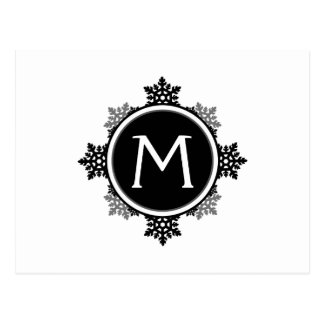 Snowflake Wreath Monogram in Black and White Postcard