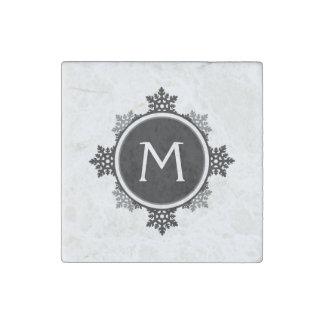 Snowflake Wreath Monogram in Black and White Stone Magnet