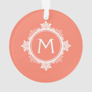 Snowflake Wreath Monogram in Coral Pink & White