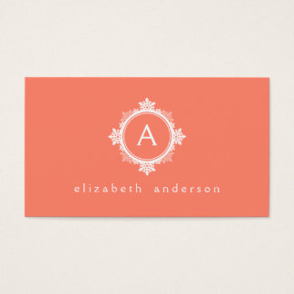Snowflake Wreath Monogram in Coral Pink & White Business Card