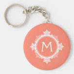 Snowflake Wreath Monogram in Coral Pink & White Key Chains