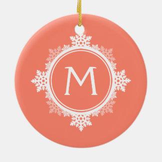 Snowflake Wreath Monogram in Coral Pink & White Ornament
