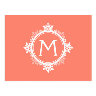 Snowflake Wreath Monogram in Coral Pink & White Postcard