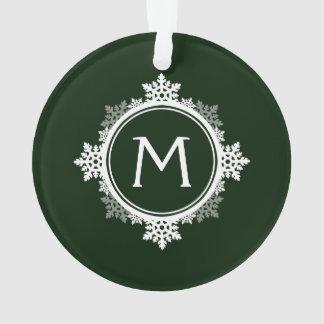 Snowflake Wreath Monogram in Dark Green & White