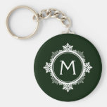Snowflake Wreath Monogram in Dark Green & White Basic Round Button Keychain
